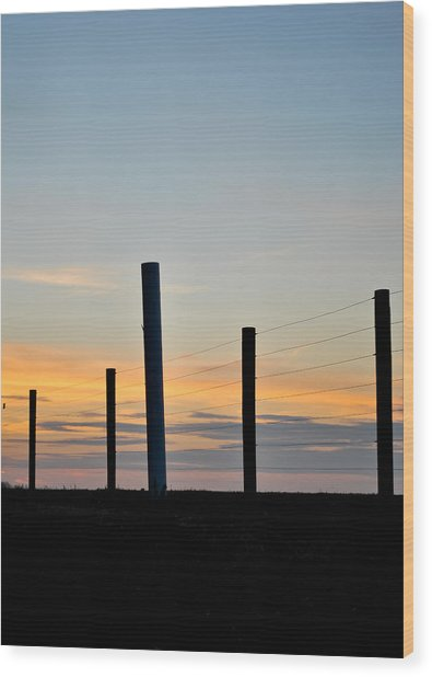 Fence Posts At Sunset Wood Print