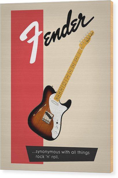 Fender All Things Rock N Roll Wood Print