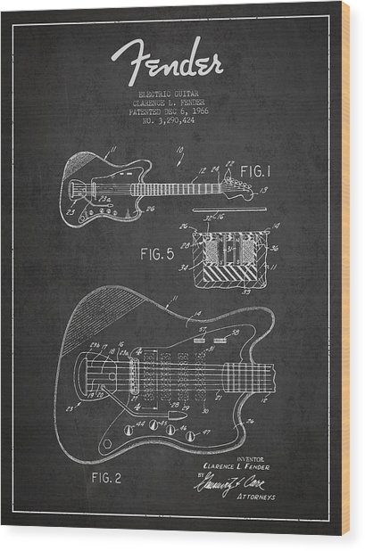 Fender Electric Guitar Patent Drawing From 1966 Wood Print