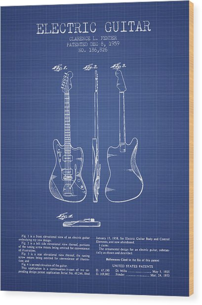 Fender Electric Guitar Patent From 1959 - Blueprint Wood Print