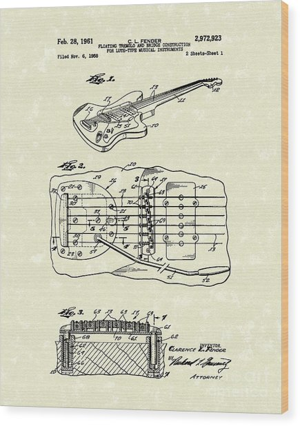 Fender Floating Tremolo 1961 Patent Art Wood Print