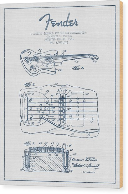 Fender Floating Tremolo Patent Drawing From 1961 - Blue Ink Wood Print