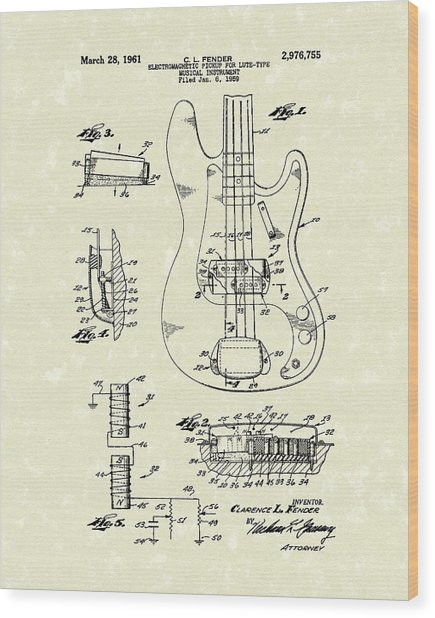 Fender Guitar 1961 Patent Art Wood Print