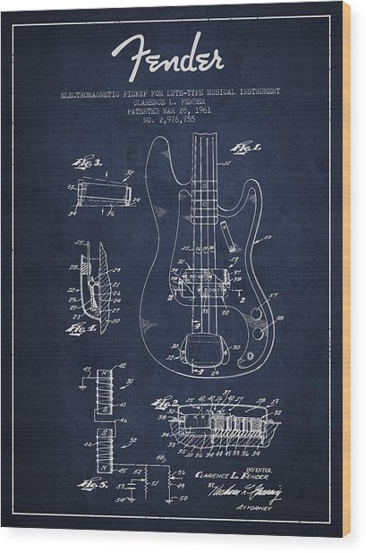 Fender Guitar Patent Drawing From 1961 Wood Print