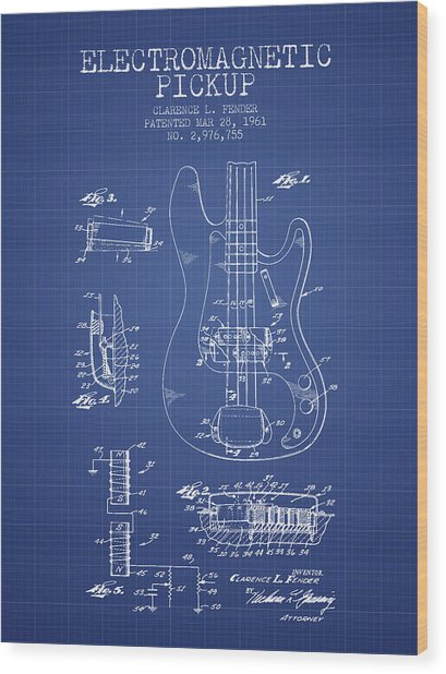 Fender Guitar Patent From 1961 - Blueprint Wood Print