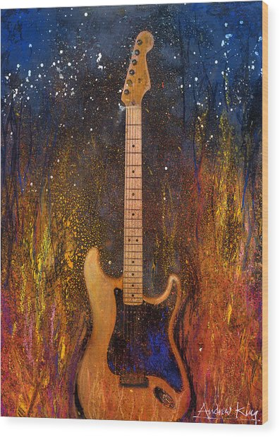 Wood Print featuring the painting Fender On Fire by Andrew King