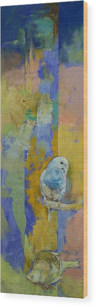 Feng Shui Parakeets Wood Print