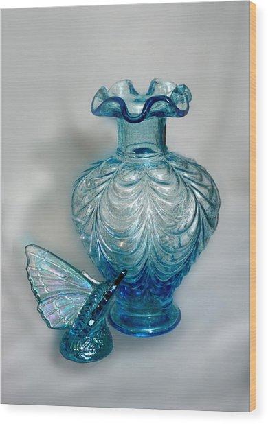 Fenton Blue Wood Print by Linda Phelps