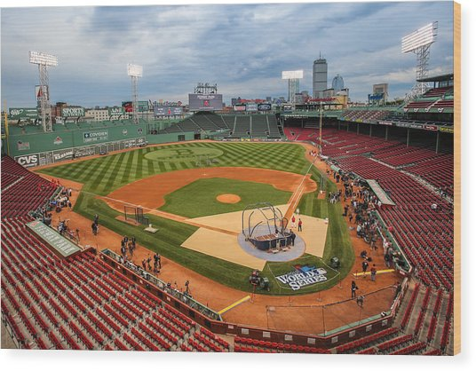 Fenway Before The Storm Wood Print