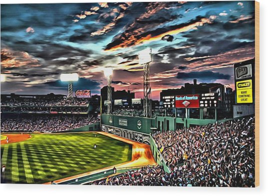 Fenway Park At Sunset Wood Print
