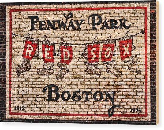 Fenway Park Boston Redsox Sign Wood Print