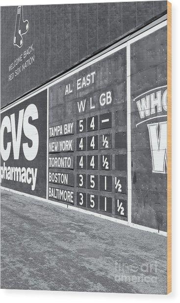 Fenway Park Green Monster Scoreboard II Wood Print