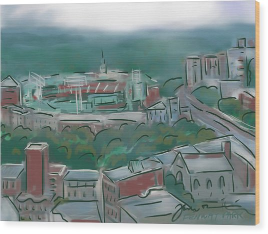 Fenway Park In The Mist Wood Print