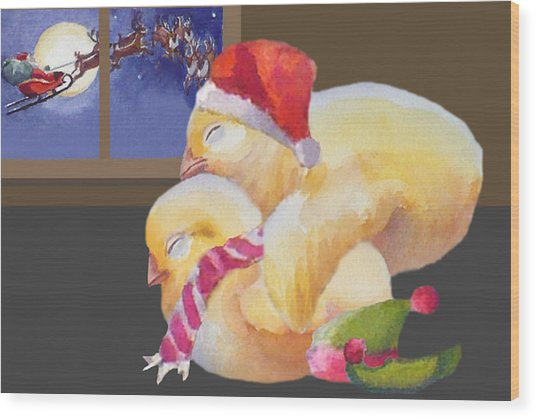 Baby Chicks Night Before Christmas Wood Print