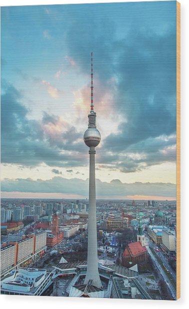 Fernsehturm - Berlin Tv Tower Wood Print by Danilovi