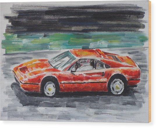 Ferrari 328 Wood Print by Ildus Galimzyanov