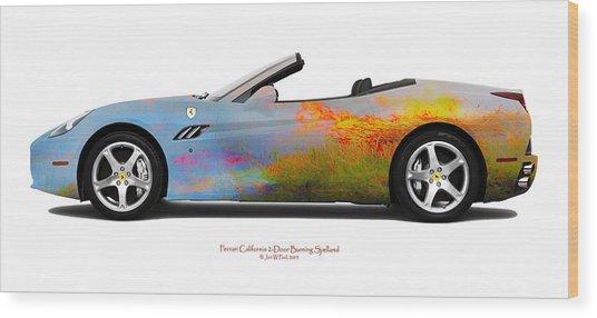 Ferrari California Burning Sealand Wood Print by Jan W Faul