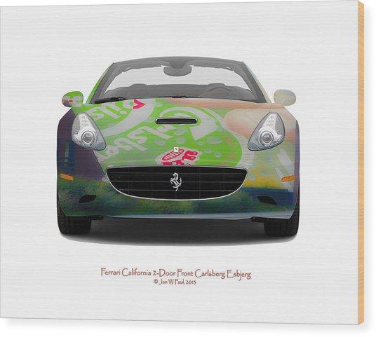 Ferrari California Carlsberg Esbjerg Wood Print by Jan W Faul