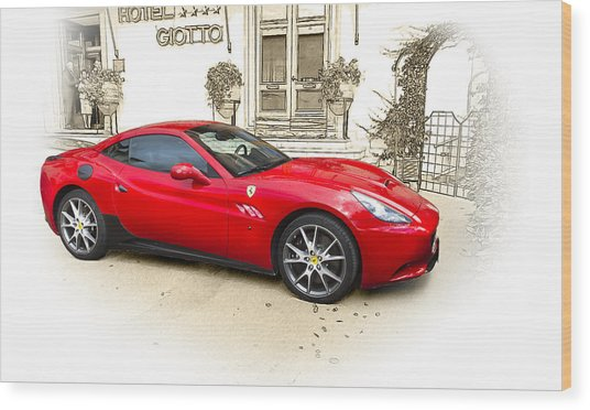 Ferrari Wood Print by John Hix