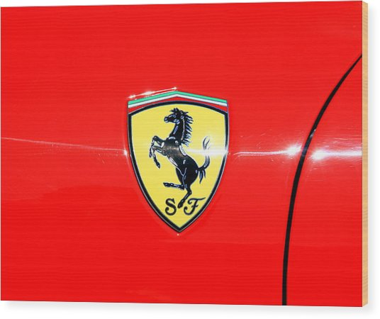 Ferrari Logo Wood Print