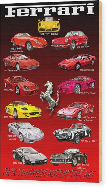 Ferrari Sports Car Poster  Wood Print