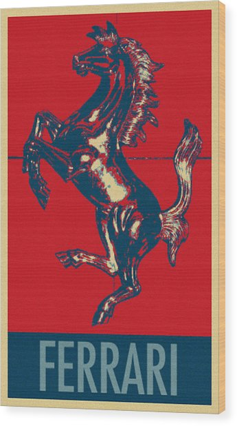 Ferrari Stallion In Hope Wood Print