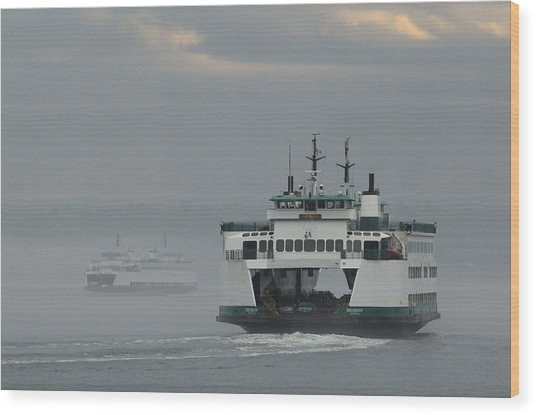 Ferries Pass In The Fog Wood Print