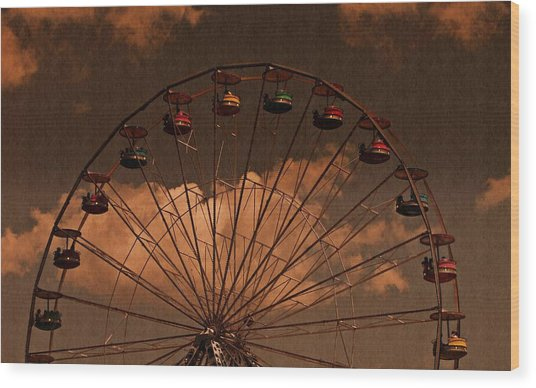Ferris Wheel At Twilight Wood Print
