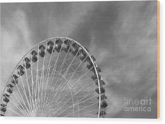 Ferris Wheel Black And White Wood Print