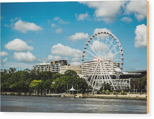 Ferris Wheel On The Brisbane River Wood Print