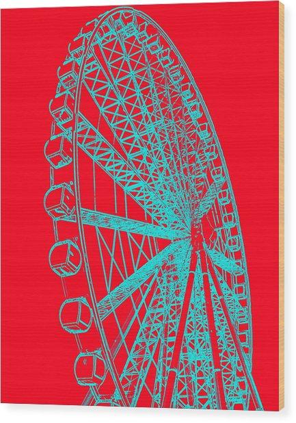 Ferris Wheel Silhouette Turquoise Red Wood Print