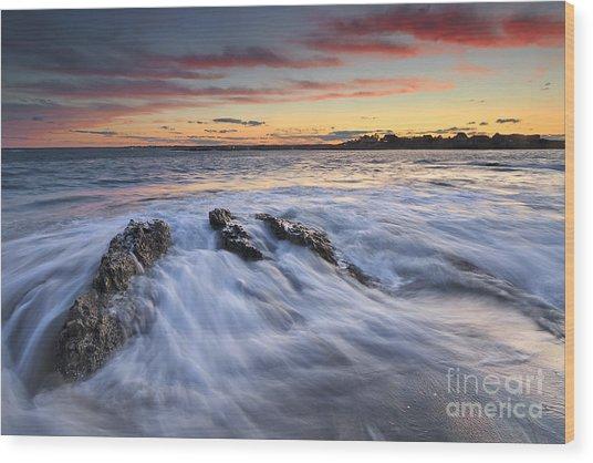 Ferry Beach Sunset Wood Print