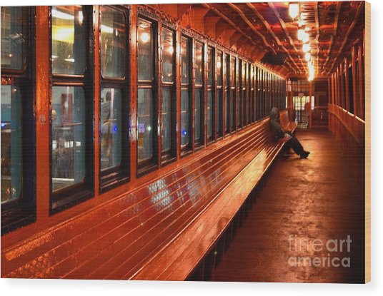 Ferry Boat Riders Wood Print