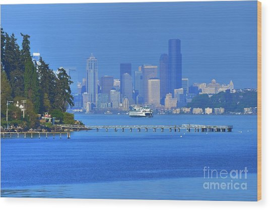 Ferry Ride In Seattle Wood Print