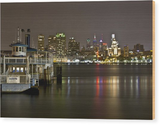 Ferry To The City Of Brotherly Love Wood Print