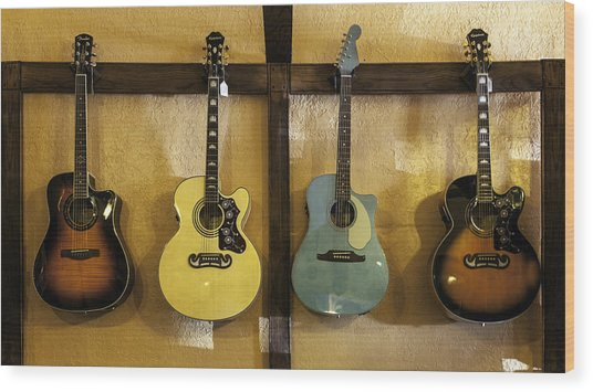 Festive Acoustic Guitars All In A Row Wood Print