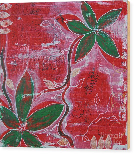 Wood Print featuring the painting Festive Garden 1 by Jocelyn Friis