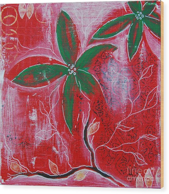 Wood Print featuring the painting Festive Garden 3 by Jocelyn Friis