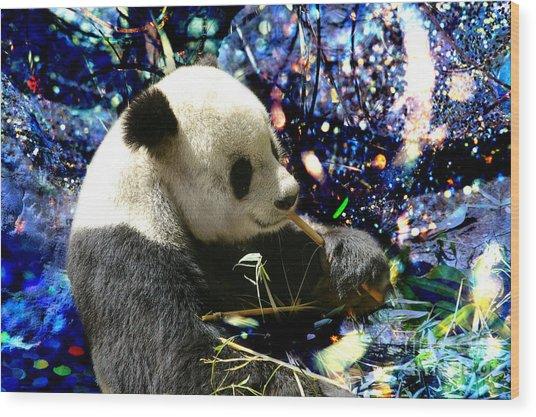 Festive Panda Wood Print