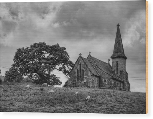 Fewston Church And Sheep Wood Print