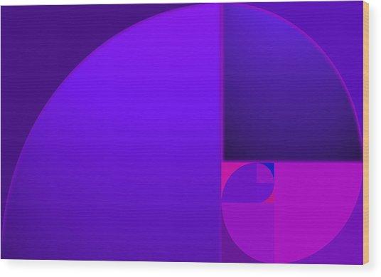 Fibonacci Blue Wood Print