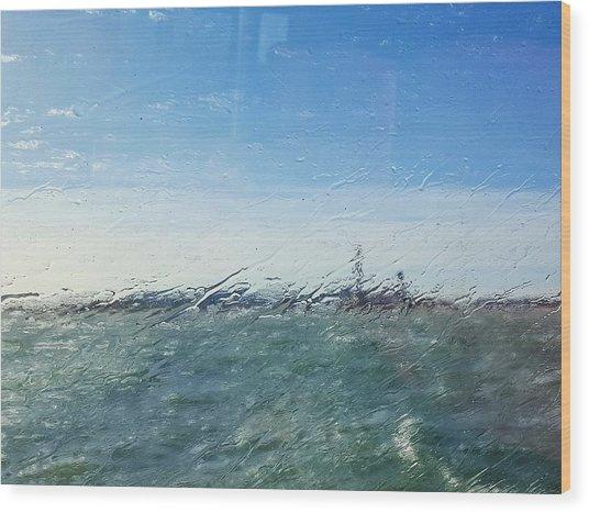 Field And Sky Seen Through Wet Glass Window Wood Print by Massimiliano Ranauro / EyeEm