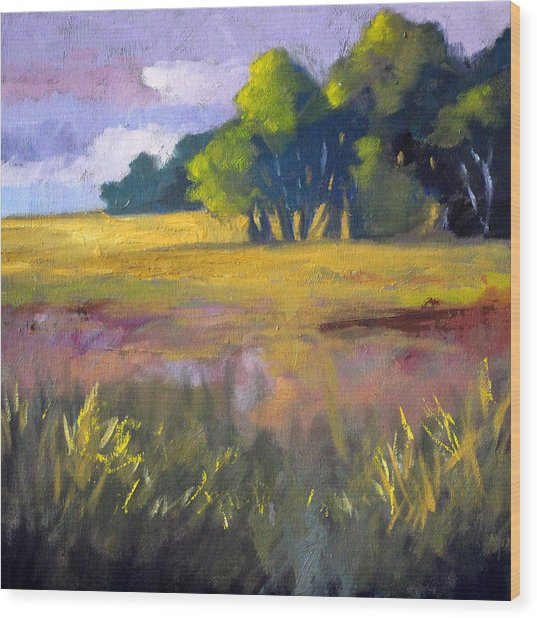Field Grass Landscape Painting Wood Print
