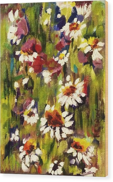 Wood Print featuring the painting Field Of Daisies by Patti Ferron