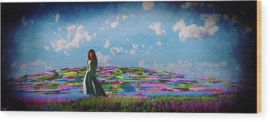 Field Of Flowers... Wood Print