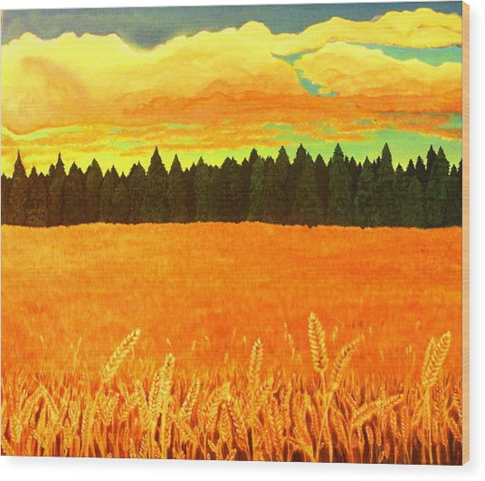 Field Of Gold Wood Print