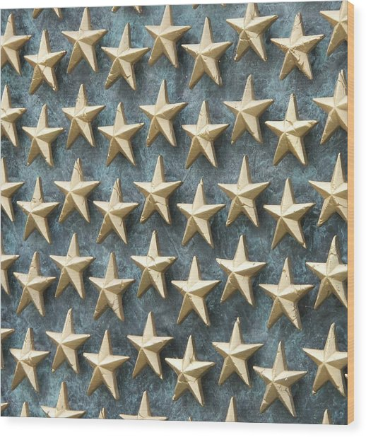 Field Of Golden Stars Wood Print by Smanter