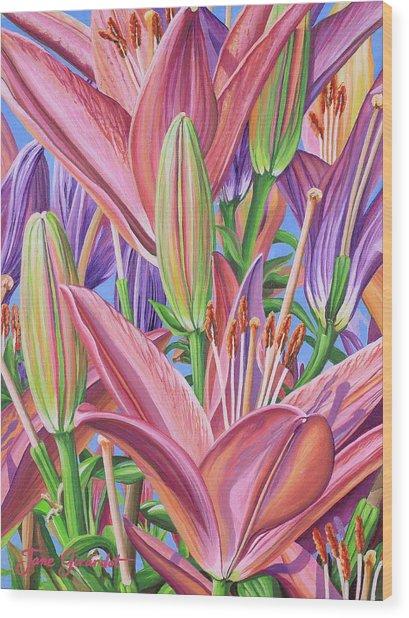 Field Of Lilies Wood Print