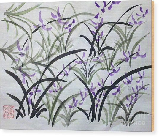 Field Of Orchids Wood Print