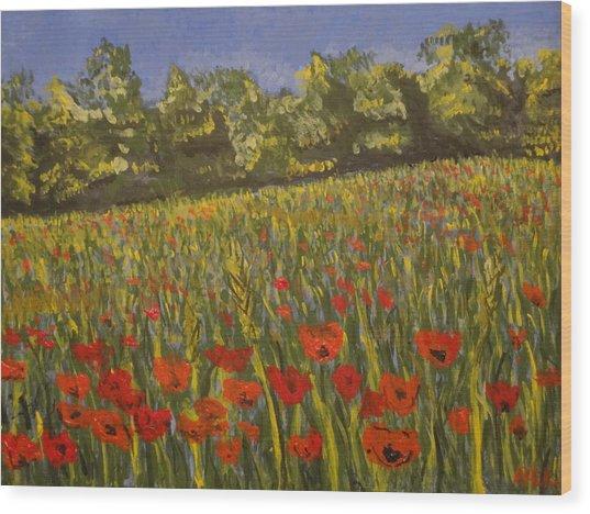 Field Of Poppies Wood Print by Paul Benson